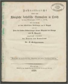 Jahresbericht über das Königliche katholische Gymnasium in Conitz in dem Schuljahre 1838-1839