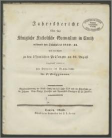 Jahresbericht über das Königliche Katholische Gymnasium in Conitz während des Schuljahres 1840-41