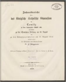 Jahresbericht über das Königliche Katholische Gymnasium in Conitz in dem Schuljahre 1857-58