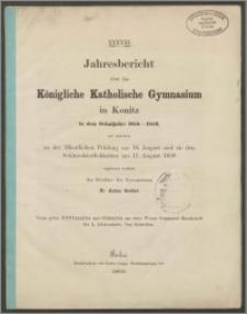 XXXVIII Jahresbericht über das Königliche Katholische Gymnasium in Konitz in dem Schuljahre 1858-1959