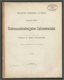 Königliches Gymnasium zu Konitz. Schuljahr 1897/98. Siebenundsiebzigster Jahresbericht