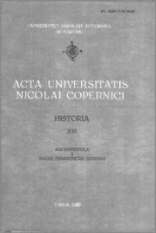 Acta Universitatis Nicolai Copernici. Nauki Humanistyczno-Społeczne. Historia, z. 16 (114), 1980