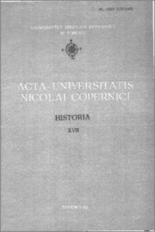 Acta Universitatis Nicolai Copernici. Nauki Humanistyczno-Społeczne. Historia, z. 17 (117), 1980