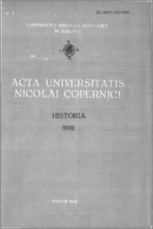 Acta Universitatis Nicolai Copernici. Nauki Humanistyczno-Społeczne. Historia, z. 18 (128), 1982