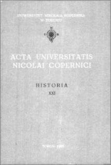 Acta Universitatis Nicolai Copernici. Nauki Humanistyczno-Społeczne. Historia, z. 21 (167), 1986
