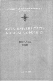 Acta Universitatis Nicolai Copernici. Nauki Humanistyczno-Społeczne. Historia, z. 28 (259), 1993