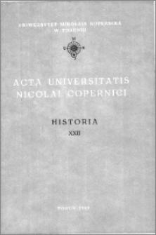 Acta Universitatis Nicolai Copernici. Nauki Humanistyczno-Społeczne. Historia, z. 22 (185), 1988