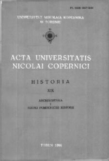 Acta Universitatis Nicolai Copernici. Nauki Humanistyczno-Społeczne. Historia, z. 19 (147), 1984