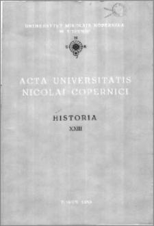 Acta Universitatis Nicolai Copernici. Nauki Humanistyczno-Społeczne. Historia, z. 23 (198), 1989