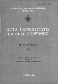 Acta Universitatis Nicolai Copernici. Nauki Humanistyczno-Społeczne. Historia, z. 20 (158), 1985