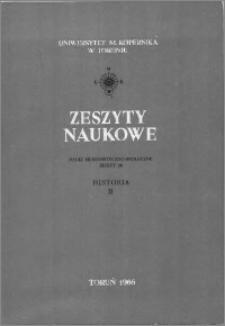 Zeszyty Naukowe Uniwersytetu Mikołaja Kopernika w Toruniu. Nauki Humanistyczno-Społeczne. Historia, z. 2 (20), 1966