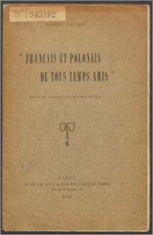 """""""Français et Polonais de tous temps amis"""""""