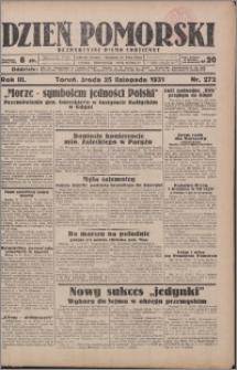 Dzień Pomorski 1931.11.25, R. 3 nr 272