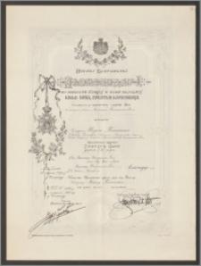 Dyplom nadania Karolowi Poznańskiemu Orderu Św. Sawy II klasy, nr 1289/2