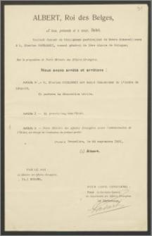 """Dyplom przyznania Karolowi Poznańskiemu – Konsulowi Generalnemu RP w Paryżu tytułu """"Komandora Orderu Leopolda I"""""""