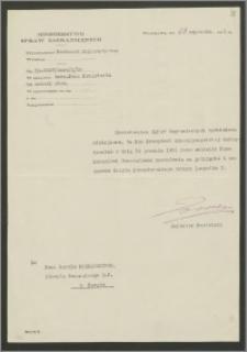 Pismo Protokołu Dyplomatycznego Ministerstwa Spraw Zagranicznych do Karola Poznańskiego – Konsula Generalnego RP w Paryżu zezwalające na przyjęcie i noszenie Krzyża Komandorskiego Orderu Leopolda I