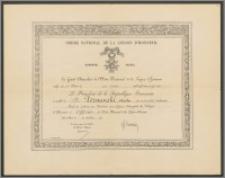 Dyplom nadania Karolowi Poznańskiemu Orderu Narodowego Legii Honorowej IV klasy