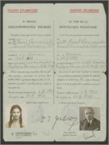 Paszport dyplomatyczny Karola Poznańskiego Konsula Generalnego RP oraz jego córki Magdaleny, nr 521/506/40