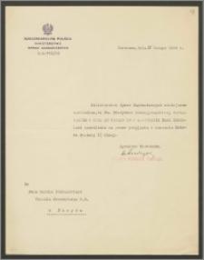 Pismo Ministerstwa Spraw Zagranicznych do Karola Poznańskiego – Konsula Generalnego RP w Paryżu zezwalające na przyjęcie i noszenie Krzyża Komandorskiego łotewskiego Orderu Trzech Gwiazd