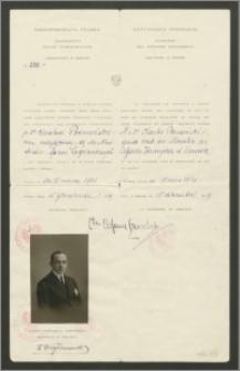 Wiza dyplomatyczna dla Karola Poznańskiego, urzędnika Ministerstwa Spraw Zagranicznych