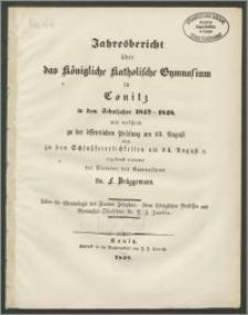 Jahresbericht über das Königliche Katholische Gymnasium in Conitz in dem Schuljahre 1847-1848