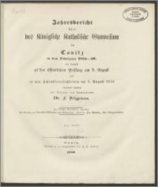 Jahresbericht über das Königliche Katholische Gymnasium in Conitz in dem Schuljahre 1855-1856