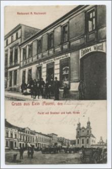 Gruss aus Exin (Posen), den .... : Restaurant A. Kozlowski : Markt mit Seminar und kath. Kirche