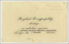 Bilet korespondencyjny Augusta Zaleskiego - Prezydenta Rzeczypospolitej na Uchodźstwie. Podziękowanie za życzenia świąteczne.