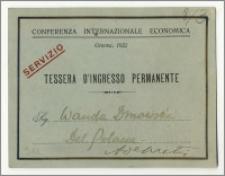 Bilet wejścia / karta stałego wstępu dla Wandy Dmowskiej stenotypistki polskiej delegacji na Międzynarodowej Konferencji Ekonomicznej w Genewie