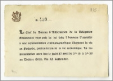 """Zaproszenie (nr 499) wystosowane przez Szefa Biura Informacyjnego Delegacji Finlandii na """"kinematograficzny pokaz"""" dotyczący życia w Finlandii w Teatrze Orfeo, w dn. 27 kwietnia 1922 r."""