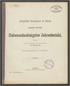 Königliches Gymnasium zu Konitz. Schuljahr 1907/1908. Siebenundachtzigster Jahresbericht