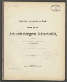 Königliches Gymnasium zu Konitz. Schuljahr 1908/1909. Achtundachtzigster Jahresbericht