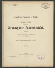 Königliches Gymnasium zu Konitz. Schuljahr 1910/1911. Neunzigster Jahresbericht