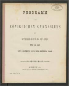 Programm des Königlichen Gymnasiums zu Strasburg W.-Pr. Für die Zeit von Ostern 1879 bis Ostern 1880