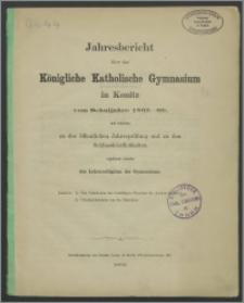 Jahresbericht über das Königliche Katholische Gymnasium in Konitz vom Schuljahre 1865-1866