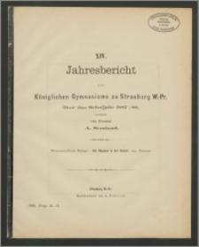 XIV. Jahresbericht des Königlichen Gymnasiums zu Strasburg W.-Pr. über das Schuljahr 1887/88