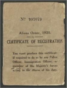 Certificate of Regiotratis / Aliens Order - legitymacja meldunkowa obcokrajowców w Wielkiej Brytanii. Legitymacja na nazwisko Wandy Poznańskiej.