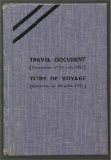 Dokument podróży obcokrajowca - Travel Document na nazwisko Karol Poznański