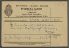Medical Card - karta medyczna wydana przez Krajową Służbę Zdrowia w Londynie na nazwisko Wandy Poznańskiej dn. 5 lipca 1948 roku
