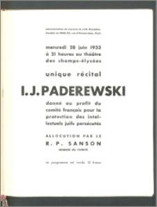 Program recitalu fortepianowego Ignacego Jana Paderewskiego