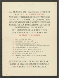 Program Seansu Muzycznego danego przez Jego Ekscelencje Ignacego Jana Paderewskiego (La Séance de Musique Offerte par S.E. Mr Paderewski) na rzecz Fundacji Św. Kazimierza.