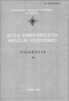 Acta Universitatis Nicolai Copernici. Nauki Humanistyczno-Społeczne. Filozofia, z. 9 (157), 1985