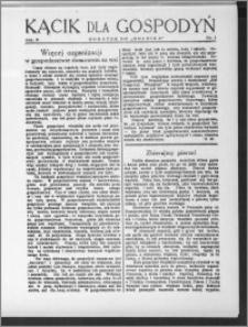 Kącik dla Gospodyń 1931, R. 2, nr 1