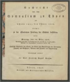 Nachricht von dem Gymnasium zu Thorn von Ostern 1825 bis Ostern 1826