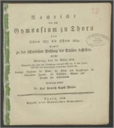 Nachricht von dem Gymnasium zu Thorn von Ostern 1833 bis Ostern 1834