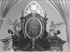 Dobre Miasto [Kościół parafialny pw. Najświętszego Zbawiciela i Wszystkich Świętych - fragment ołtarza głównego - zwieńczenie]