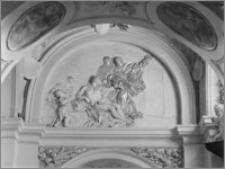 """Kraków [Kościół pw. św. Anny – nawa boczna, kaplica św. Piotra w Okowach, """"Uzdrowienie paralityka"""", sztukateria autorstwa Baltazara Fontany]"""