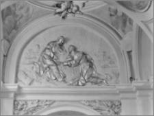 """Kraków [Kościół pw. św. Anny – nawa boczna, kaplica św. Piotra w Okowach, """"Wręczenie kluczy"""", sztukateria autorstwa Baltazara Fontany]"""