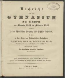 Nachricht von dem Gymnasium zu Thorn von Michaelis 1842 bis Michaelis 1843