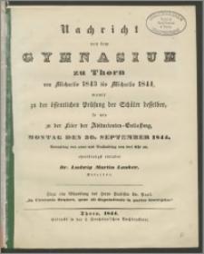 Nachricht von dem Gymnasium zu Thorn von Michaelis 1843 bis Michaelis 1844